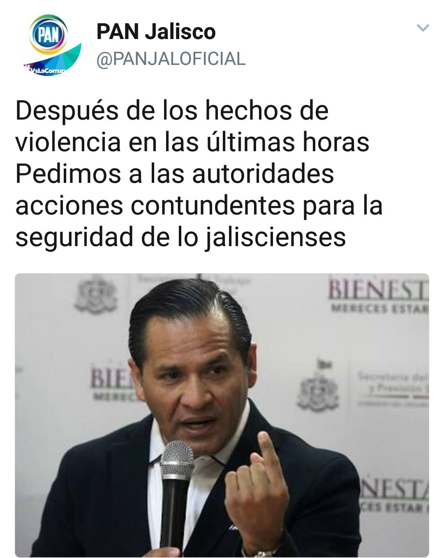 PAN Jalisco exige acciones contundentes vs inseguridad